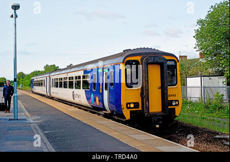 Northern line Train arriving at Eaglescliffe Station near Stockton on Tees, Cleveland, England, 2nd June 2019 - Stock Image