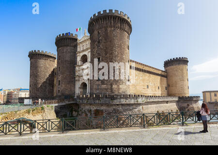 Naples (Italy) - Castel Nuovo,  New Castle, also called Maschio Angioino, is a medieval castle located in front - Stock Image