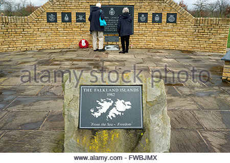 National Memorial Arboretum - Falklands 1982 campaign memorial. Nr. Lichfield, Staffordshire, UK. - Stock Image