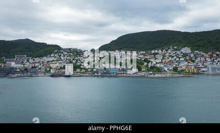 Scenic views of Bergen, city and municipality in Hordaland on the west coast of Norway, surrounded by mountains and fjords. - Stock Image