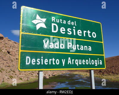 Road sign in Chile - Stock Image