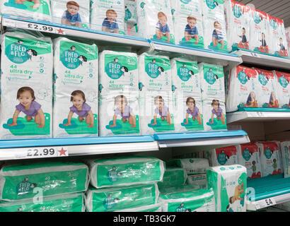 Fred & Flo nappies in Tesco supermarket. UK - Stock Image