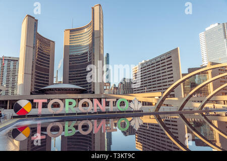 Toronto Sign seen from Nathan Phillips Square - Stock Image