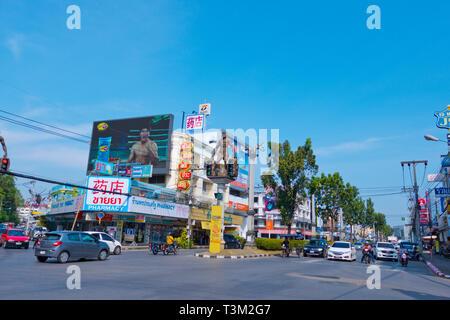 Cro-magnon Man Intersection, Maharaj road, Krabi town, Thailand - Stock Image