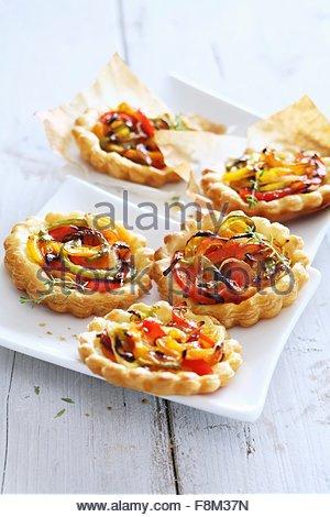 Mini pepper pies - Stock Image