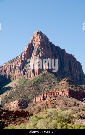 USA Utah, Zion National Park. The Watchman land form. - Stock Image