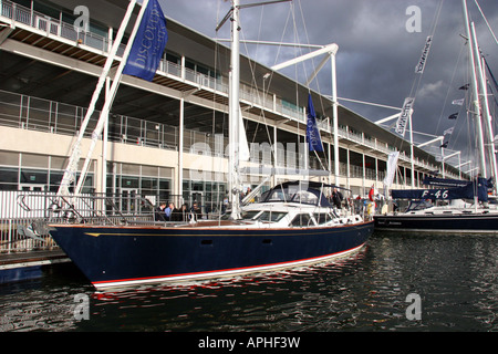 very large luxury saling yacht moored up in london - Stock Image