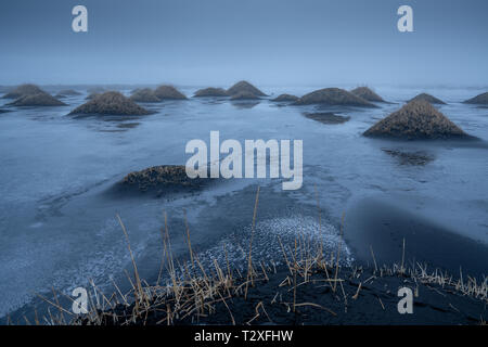 Mystic landscape of Stokksnes close to Höfn on at dusk, Iceland, Europe - Stock Image