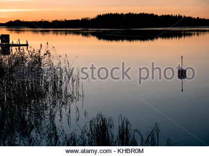 Last rays of sun by the lake in late Autumn, Sweden. Only few hours of light in November and even less in the beginning - Stock Image