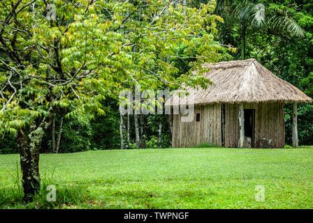 Bohio (hut) recreation, Caguana Indian Ceremonial Park, Utuado, Puerto Rico - Stock Image