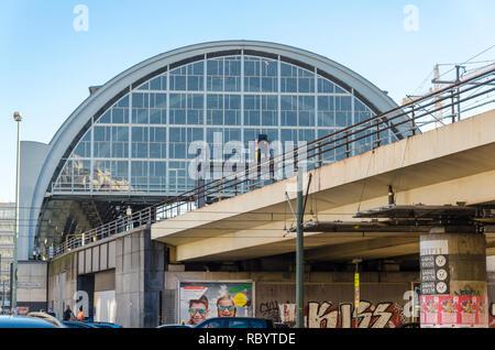 Arch building of Alexanderplatz train station, Berlin, Germany - Stock Image