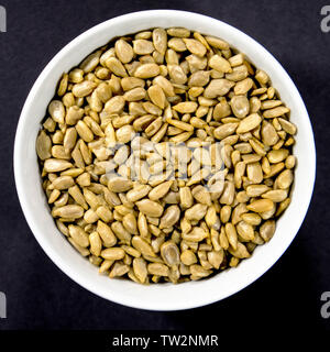 Bowl of Natural Healthy Sunflower Seeds High in Protein and Vitamin E.diet, dieting, - Stock Image
