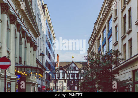 LONDON, UNITED KINGDOM - August 13th, 2018: architecture in London city centre near the Liberty department Store - Stock Image