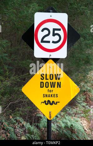 Traffic warning sign outside the Australian Garden, Cranbourne, Victoria, Australia - Stock Image