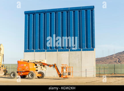 Trump administration new US-Mexico border wall prototypes are unveiled in October 2017. This prototype made in concrete - Stock Image
