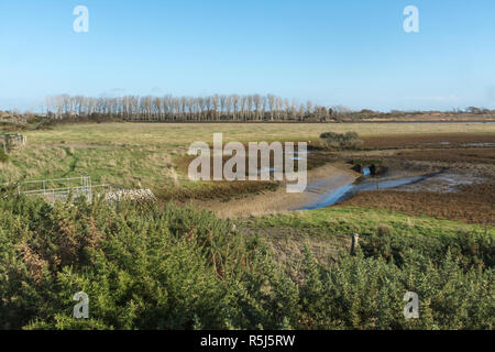 RSPB Medmerry Nature Reserve by the coast at Medmerry, West Sussex, UK - Stock Image