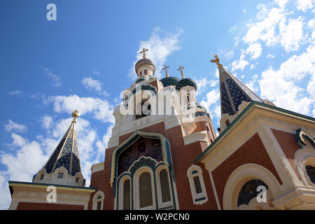 The Russian Orthodox Cathedral Of Saint Nicholas In Nice On The French Riviera, France, Europe - Stock Image