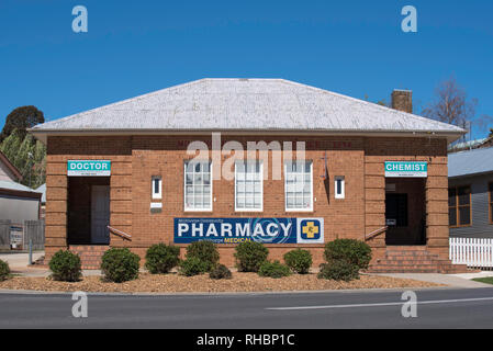 The old Post Office in Millthorpe, New South Wales, now converted to the local Pharmacy or chemist shop - Stock Image