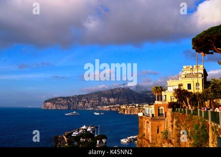 Beautiful view  of Sorrento, Italy from the Cliff top of Marina S. Francesco - Stock Image