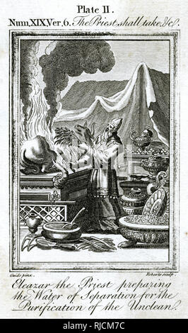 This depicts High Priest Eleazar preparing the water of separation (commonly known as the water of purification) preparing to purify a bull in preparation for slaughter. - Stock Image