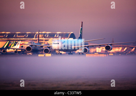 South African Airways Airbus A340-600 at London Heathrow Airport, UK - Stock Image