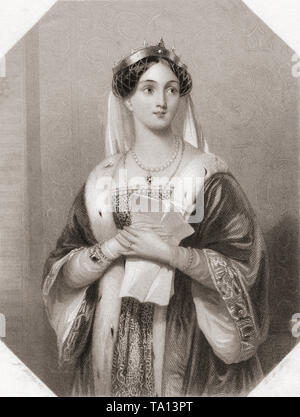 Queen Margaret.  Principal female character from Shakespeare's play Henry VI.  From Shakespeare Gallery, published c.1840. - Stock Image