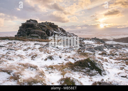 Snow on Higher Tor Dartmoor National Park Devon Uk - Stock Image