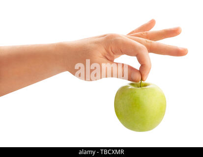green apple in hand path isolated - Stock Image