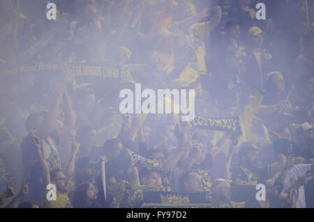 Mapfre stadium, USA. 23rd April, 2016. .Fans celebrate the Columbus Crew SC win of the match between Houston Dynamo - Stock Image