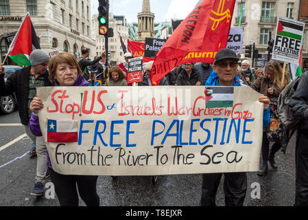 London, UK. May 11th 2019. National Demonstration for Palestine. Thousands of activists marched from Portland Place to Whitehall. Organised by the Palestine Solidarity Campaign, Stop the War Coalition, Palestinian Forum in Britain, Friends of Al- Aqsa & Muslim Association of Britain. Credit: Stephen Bell/Alamy Stock Photo - Stock Image