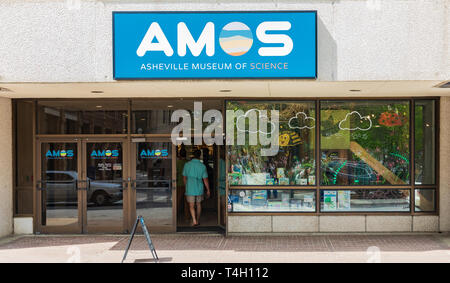 ASHEVILLE, NC, USA-4/11/19:  Entrance to AMOS, the Asheville Museum of Science, on Patton Avenue, in downtown. - Stock Image