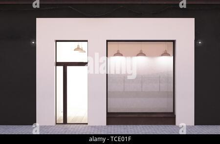 white storefront mockup 3d rendering - Stock Image