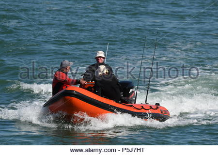 Littlehampton, UK. Wednesday 27th June 2018. People enjoy an early morning boat trip on another very warm and sunny morning in Littlehampton, on the South Coast. Credit: Geoff Smith / Alamy Live News. - Stock Image