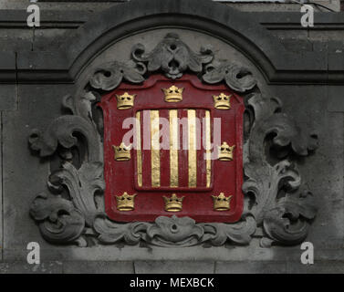 Crest or Coat of Arms over Peterhouse College, Cambridge University - Stock Image