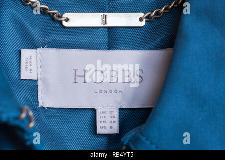 Hobbs clothing label inside trench coat - Stock Image