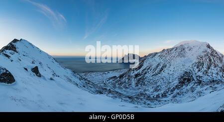 Winter view over Uttakleiv beach from Mannen, Vestvågøy, Lofoten Islands, Norway - Stock Image