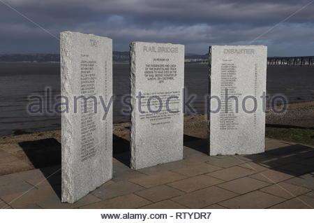 Tay Rail Bridge disaster memorial Wormit Fife Scotland  February 2019 - Stock Image