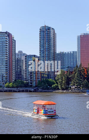 An aquabus ferry crossing False Creek in Vancouver, BC, Canada - Stock Image