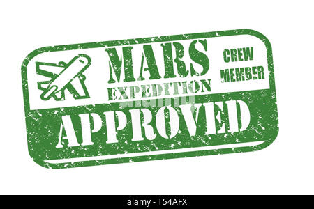 Rubber Stamp Mars Expedition Approved text on white illustration - Stock Image