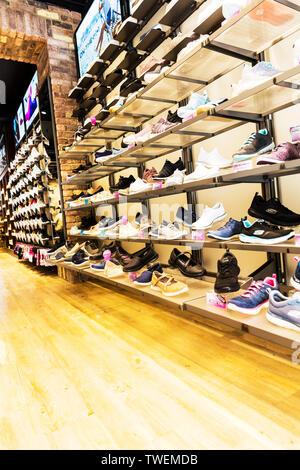 Inside Skechers shoe shop, Plymouth, Devon, UK, England, Skechers shoes, Skechers, Skechers shoe store, interior, inside, shoes, display, - Stock Image