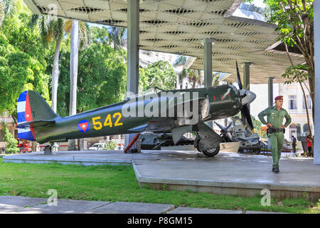 Museum of the Revolution (Museo de la Revolucion), exterior with military aircraft and tank display, Havana, Cuba - Stock Image