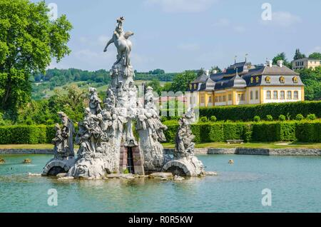 The famous Rococo garden, a magnificent creation with lakes and waterworks, dates from the reign of Prince-Bishop Adam Friedrich von Seinsheim. - Stock Image