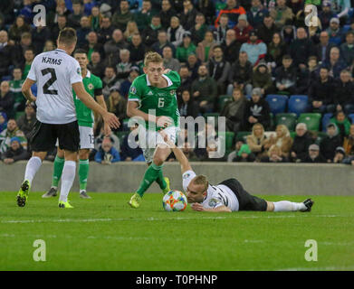 National Football Stadium at Windsor Park, Belfast, Northern Ireland. 21 March 2019. UEFA EURO 2020 Qualifier- Northern Ireland v Estonia. Action from tonight's game. George Saville (6) Northern Ireland. Credit: David Hunter/Alamy Live News. - Stock Image