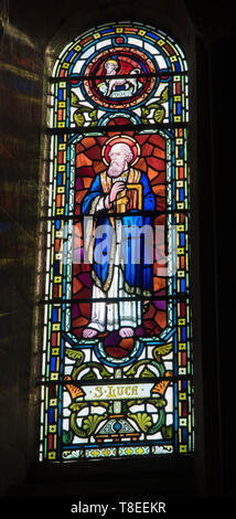 St. Luke depicted in stained glass at St Catherine church, Hoarwithy Herefordshire England UK. February 2019. - Stock Image