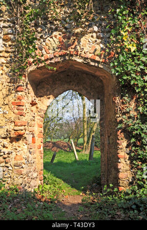 A view of the north door from inside the nave of the ruins of the Church of St Edmund at Southwood, Norfolk, England, United Kingdom, Europe. - Stock Image