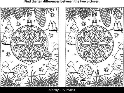 Winter holidays, New Year or Christmas themed find the ten differences picture puzzle and coloring page with christmas tree ornament. - Stock Image
