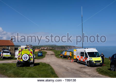 Kettleness, south of Runswick Bay and Middlesbrough, UK. 11th May 2019. Cleveland Mountain Rescue Team searched the area for a missing man who has been missing from Scarborough for a few days. The Team's control vehicle, two Land Rovers and 17 Team members were deployed in the search but he was not found. Credit: ClevelandMRT/Alamy Live News - Stock Image