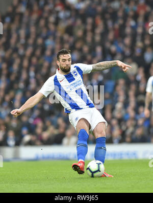 Shane Duffy of Brighton during the Premier League match between Brighton & Hove Albion and Huddersfield Town at the American Express Community Stadium . 02 March 2019 Editorial use only. No merchandising. For Football images FA and Premier League restrictions apply inc. no internet/mobile usage without FAPL license - for details contact Football Dataco - Stock Image