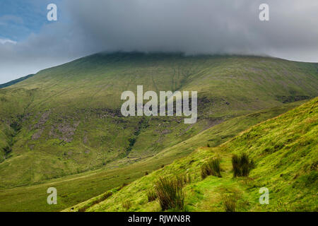 View towards Galtymore Mountain, enshrouded in mist, in the Galty Mountains range from the Glen of Aherlow, County Tipperary, Ireland - Stock Image