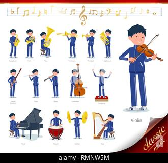 A set of school boy in sportswear on classical music performances.There are actions to play various instruments such as string instruments and wind in - Stock Image